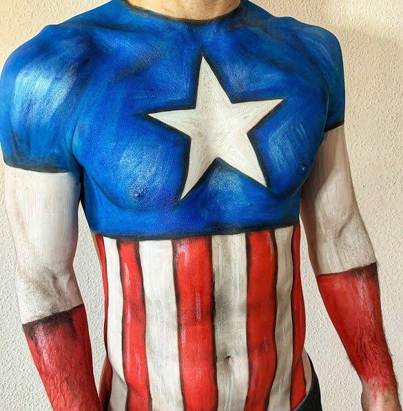 bodypainting capitan américa